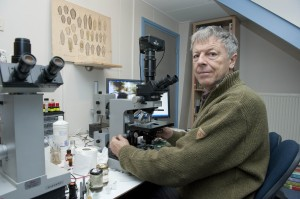 Ferry Siemensma at his Microscope